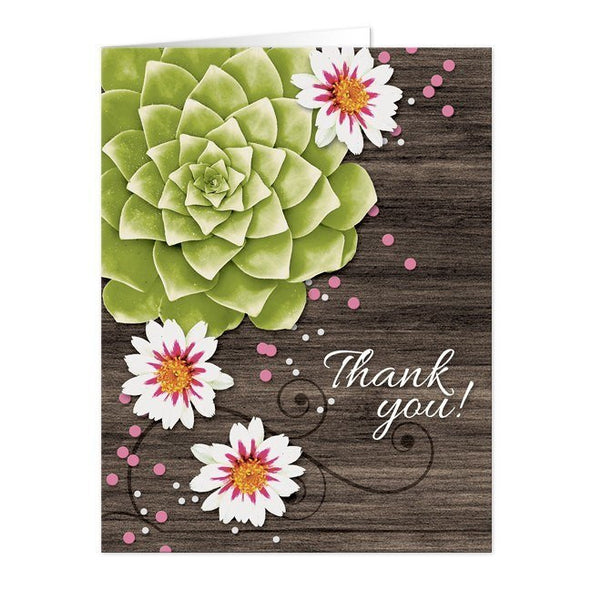 Succulent Rustic Floral Wood Thank You Cards - Artistically Invited