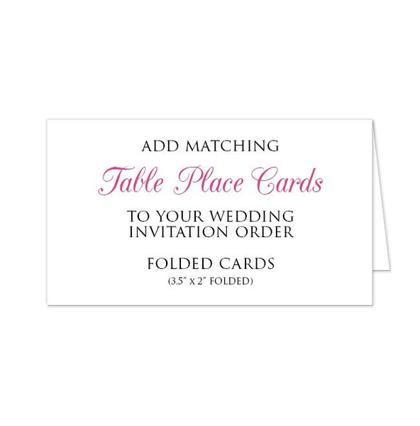 Folded Cards - Table Place Cards Add-on To Match Your Wedding Order