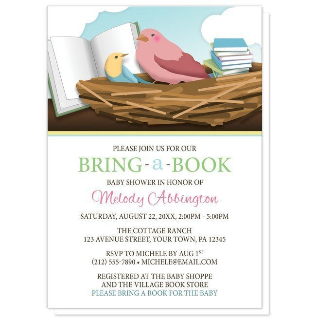 Bird Nest Bring a Book Baby Shower Invitations - Artistically Invited