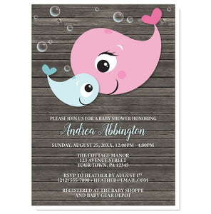 Mommy Baby Boy Whale Rustic Wood Baby Shower Invitations - Artistically Invited