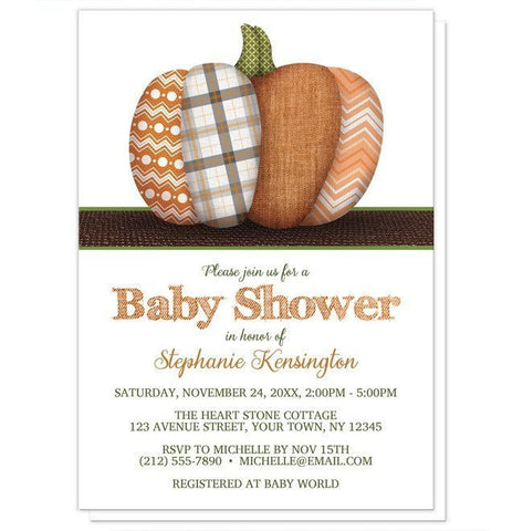 Patchwork Pumpkin Autumn Baby Shower Invitations - Artistically Invited