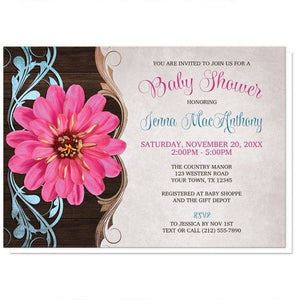 Rustic Country Pink Zinnia Baby Shower Invitations - Artistically Invited
