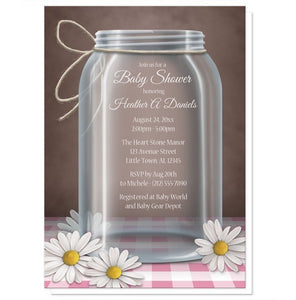 Rustic Mason Jar Gingham Baby Shower Invitations - Artistically Invited