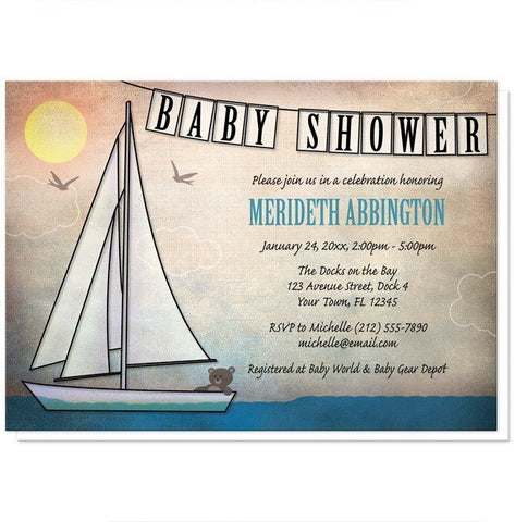 Rustic Nautical Sailboat Baby Shower Invitations - Artistically Invited