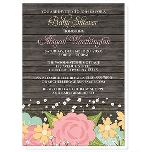 Rustic Pink Floral Wood Baby's Breath Baby Shower Invitations - Artistically Invited