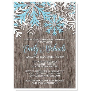 Rustic Winter Wood Blue Snowflake Baby Shower Invitations - Artistically Invited