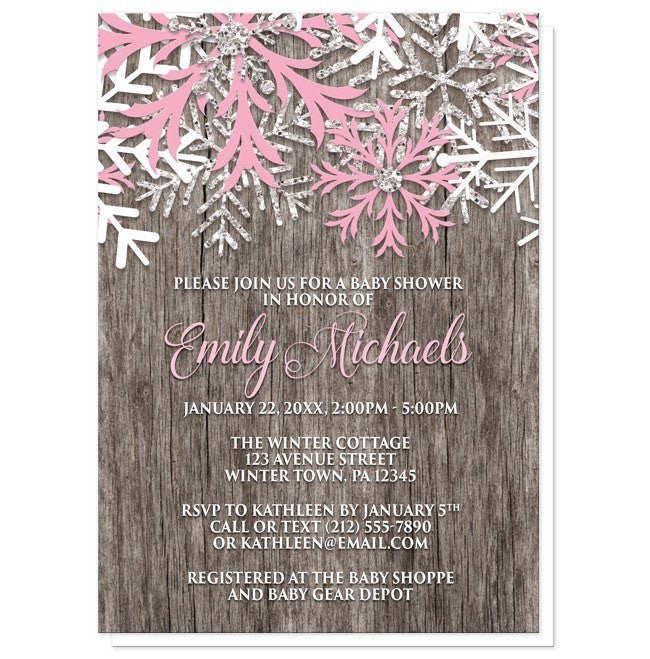 Rustic Winter Wood Pink Snowflake Baby Shower Invitations Online At