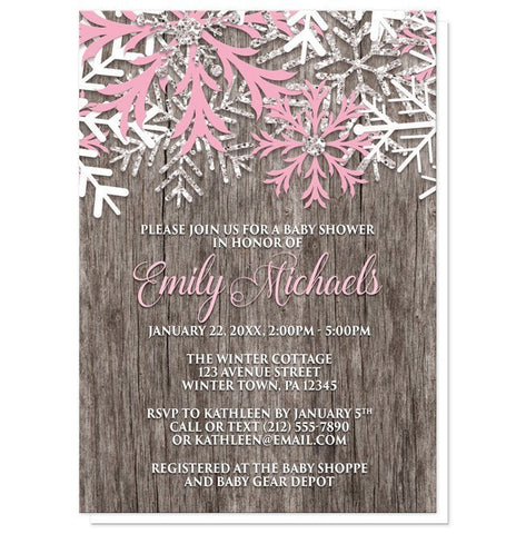 Pink Snowflake Baby Shower Invitations - Rustic Winter Wood Pink Snowflake Baby Shower Invitations at Artistically Invited