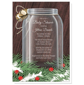 Winter Mason Jar Pine Boughs Baby Shower Invitations - Artistically Invited