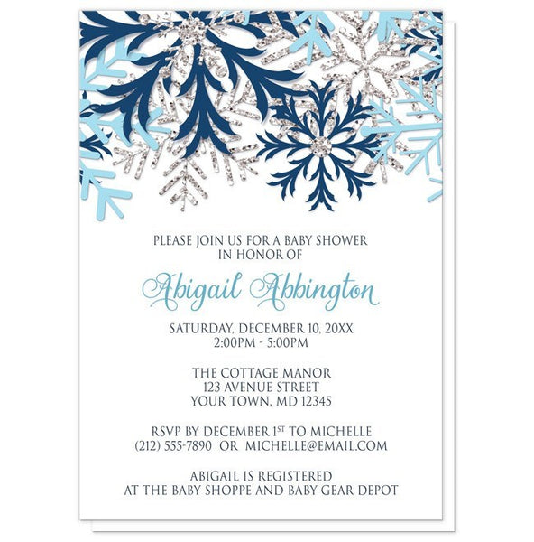 Winter Blue Silver Snowflake Baby Shower Invitations