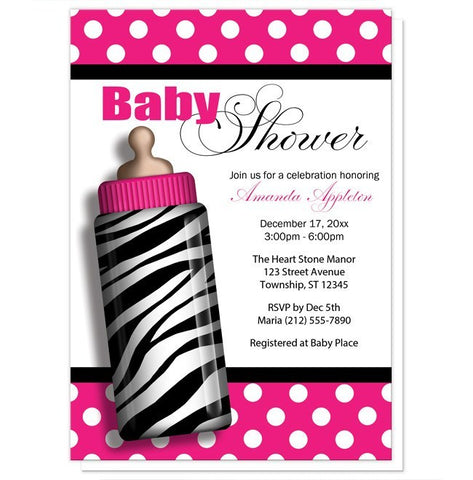 Zebra Print Hot Pink Baby Bottle Baby Shower Invitations - Artistically Invited