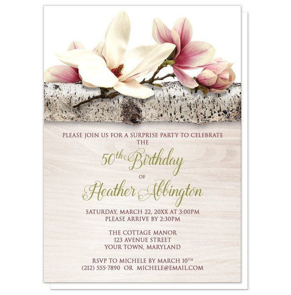 Magnolia Birch Light Wood Floral Birthday Invitations - Artistically Invited