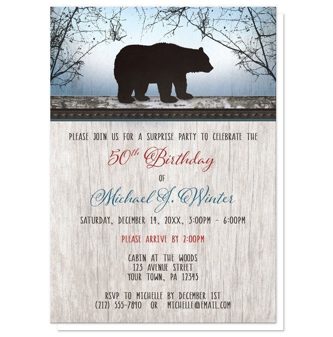 Rustic Bear Wood Red Blue Birthday Invitations - Artistically Invited