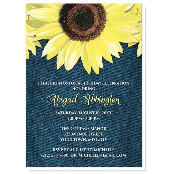 Rustic Sunflower and Denim Birthday Invitations - Artistically Invited