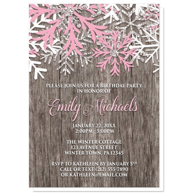 rustic winter wood pink snowflake birthday invitations online at