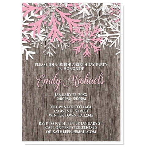 Rustic Winter Wood Pink Snowflake Birthday Invitations - Artistically Invited