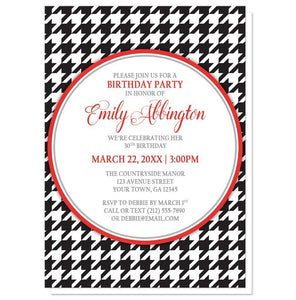 Stylish Black Houndstooth Red Birthday Invitations - Artistically Invited