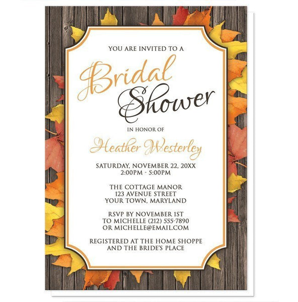 Autumn Orange White Wood Bridal Shower Invitations - Artistically Invited