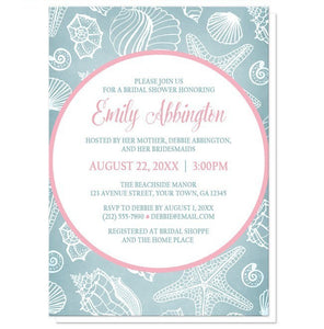 Blue Seashell Pink Beach Bridal Shower Invitations - Artistically Invited