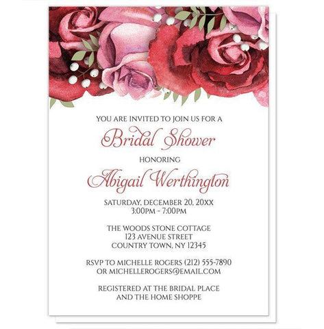 Burgundy Red Pink Rose Bridal Shower Invitations - Artistically Invited