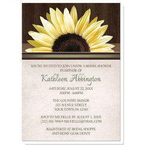 Country Sunflower Over Wood Rustic Bridal Shower Invitations - Artistically Invited