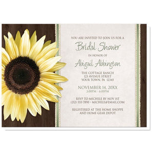 Country Sunflower Wood Brown Green Bridal Shower Invitations - Artistically Invited