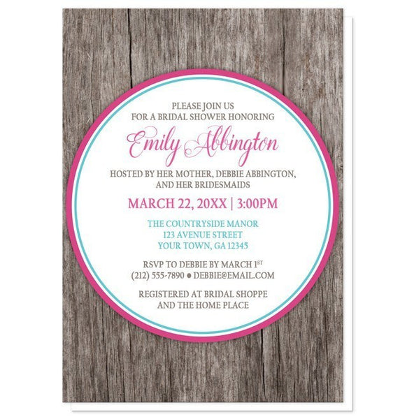 Fuchsia Turquoise Rustic Wood Bridal Shower Invitations - Artistically Invited