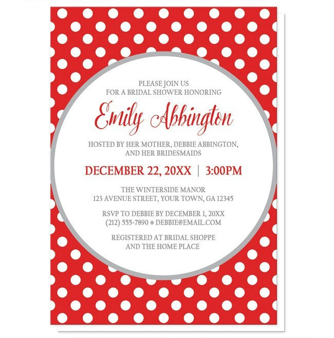 Gray and Red Polka Dot Bridal Shower Invitations at  Artistically Invited