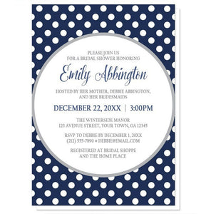 Gray Navy Blue Polka Dot Bridal Shower Invitations - Artistically Invited