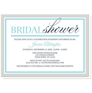 Modern Aqua Navy Gray Winter Bridal Shower Invitations - Artistically Invited