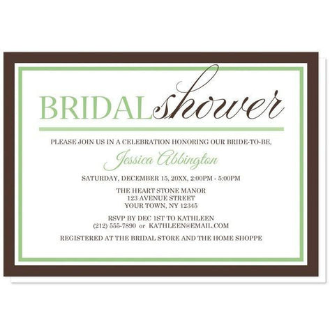 Modern Green and Brown Bridal Shower Invitations - Artistically Invited