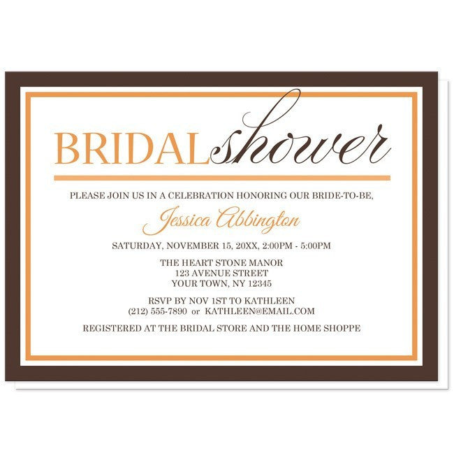 Modern Orange and Brown Autumn Bridal Shower Invitations at  Artistically Invited