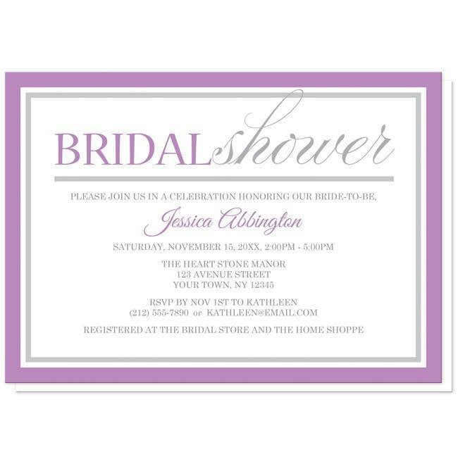 Modern Purple and Gray Bridal Shower Invitations at  Artistically Invited