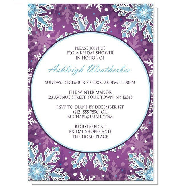 Modern Purple Blue Snowflake Bridal Shower Invitations - Artistically Invited