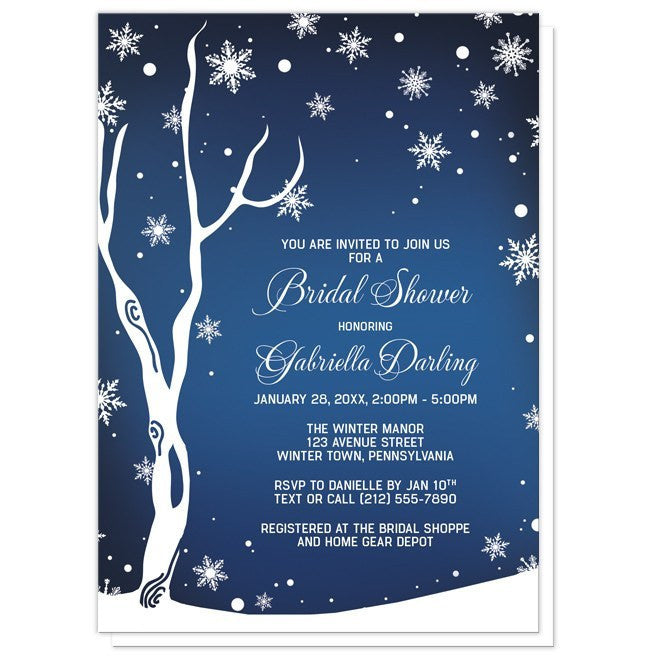 Navy night sky snowflake winter bridal shower invitations online at navy night sky snowflake winter bridal shower invitations artistically invited filmwisefo Choice Image