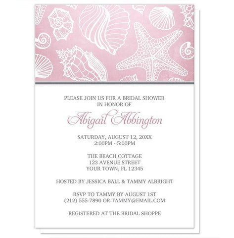 Pink Beach Seashell Pattern Bridal Shower Invitations - Artistically Invited
