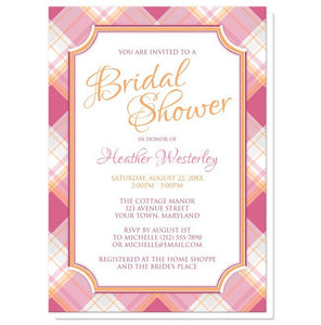 Pink and Orange Plaid Bridal Shower Invitations - Artistically Invited