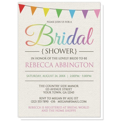 Rainbow Bunting Flags Rustic Bridal Shower Invitations - Artistically Invited