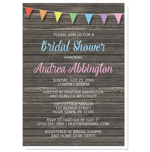 Rainbow Bunting Flags Rustic Wood Bridal Shower Invitations - Artistically Invited