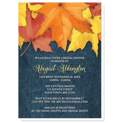 Rustic Autumn Leaves Denim Bridal Shower Invitations - Artistically Invited