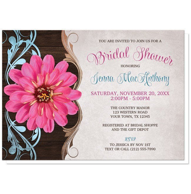 Invitations - Bridal Shower Invitations - Rustic Country Pink Zinnia