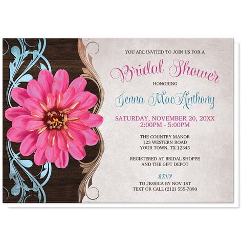 Rustic Country Pink Zinnia Bridal Shower Invitations - Artistically Invited