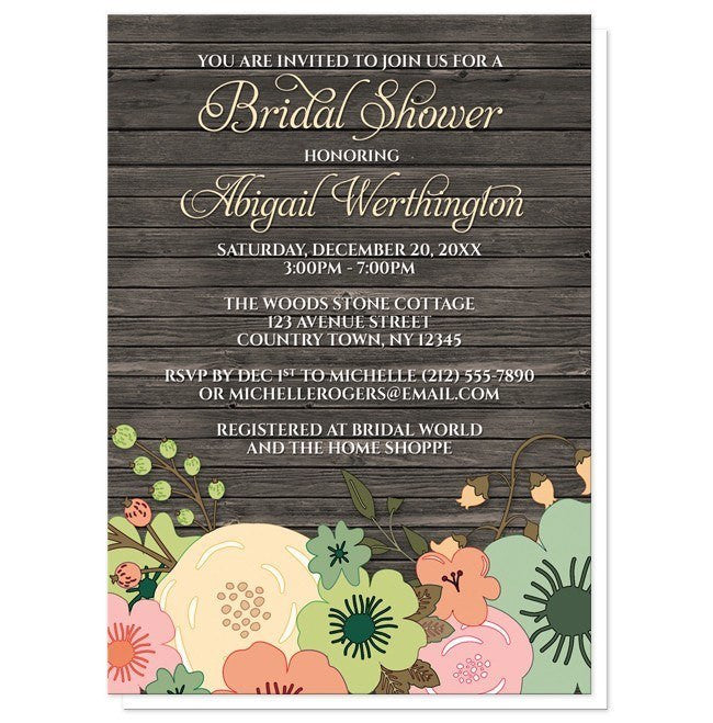Rustic Orange Teal Floral Wood Bridal Shower Invitations - Artistically Invited