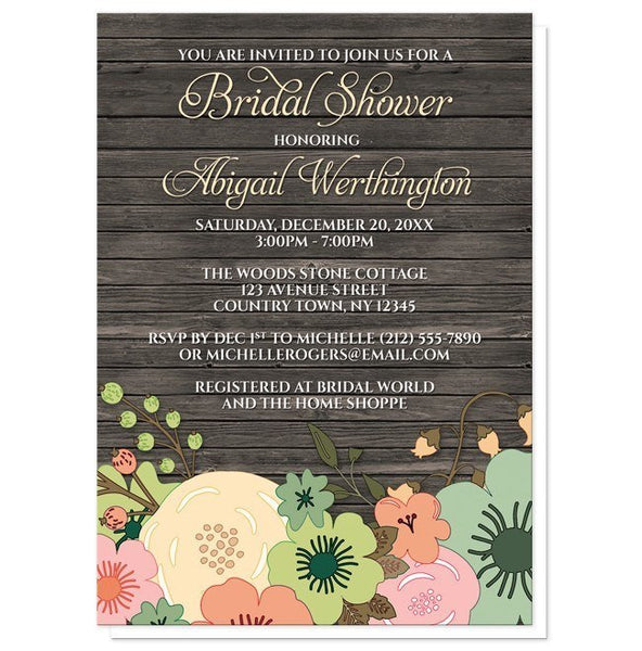 Invitations - Bridal Shower Invitations - Rustic Orange Teal Floral Wood