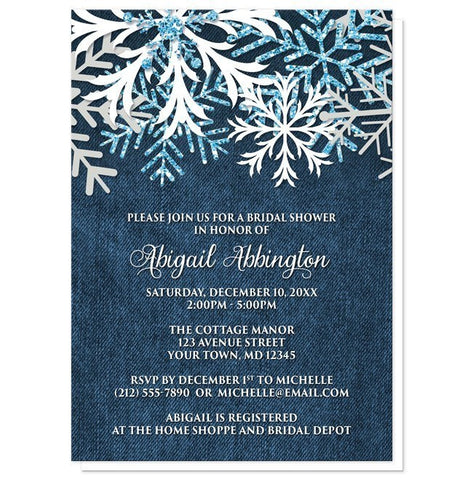 Rustic Snowflake Denim Winter Bridal Shower Invitations - Artistically Invited