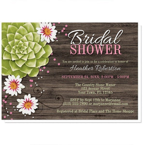Rustic Succulent Floral Bridal Shower Invitations - Artistically Invited