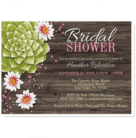 Invitations - Bridal Shower Invitations - Rustic Succulent Floral