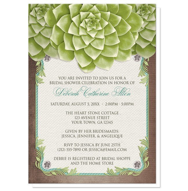 Rustic Succulent Garden Bridal Shower Invitations - Artistically Invited