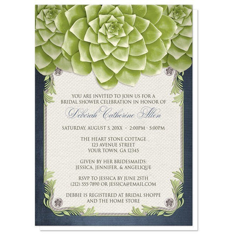 Rustic Succulent Garden Navy Bridal Shower Invitations - Artistically Invited