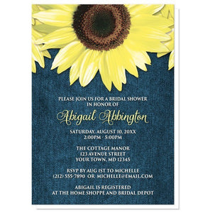 Rustic Sunflower Denim Bridal Shower Invitations - Artistically Invited